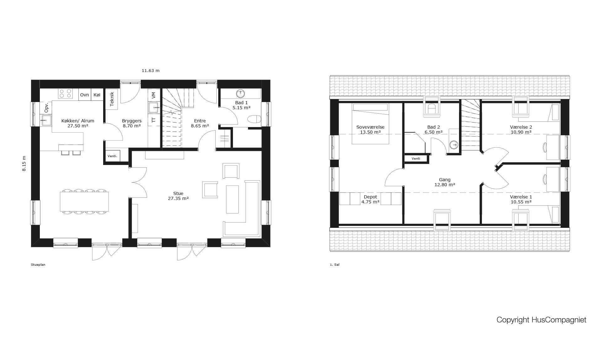 Picture of: Plantegning 1 5 Plan 162 M2 Huscompagniet